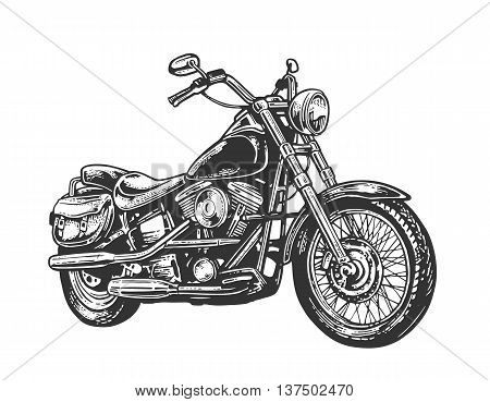Motorcycle. Side view. Hand drawn classic chopper bike in engraving style. Vector vintage illustration isolated on white background. For web poster t-shirt club.