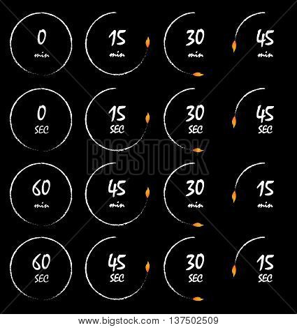 Timer burning with a fire flame conceptual timer vector illustration. Countdown icons collection isolated over black background