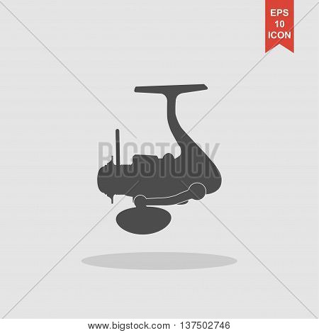 The Isolated Silhouettes Of Fishing Reels Spinning On A White Background.
