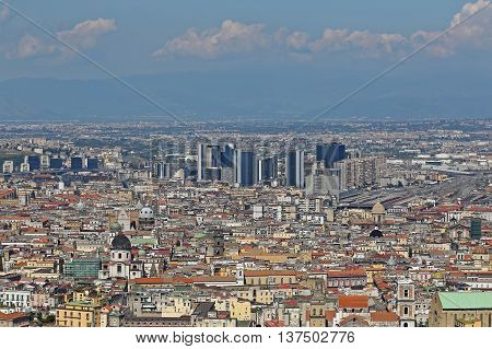Aerial Cityscape of Naples City in Campania Italy