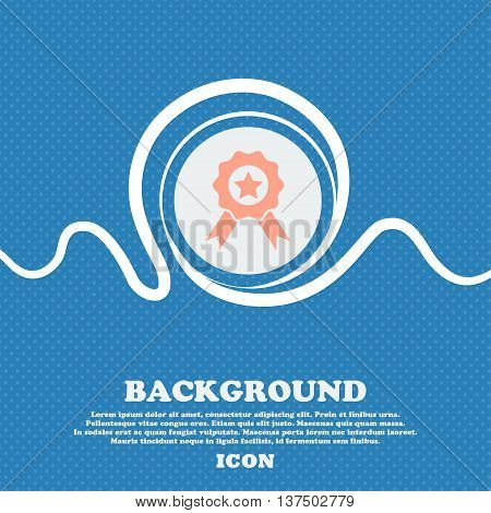 Award, Medal Of Honor Icon Sign. Blue And White Abstract Background Flecked With Space For Text And