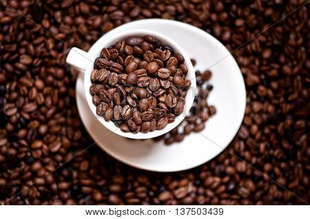 fresh black columbian coffee in white cup isolated on coffee beans background