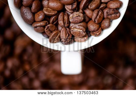 Detail, Macro View Of Coffee Mug With Aromatic Black Coffee Bean