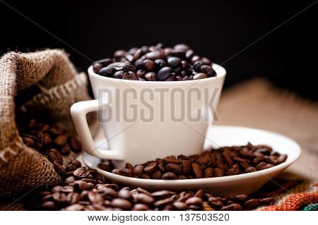 Arabic Fresh Bio Coffee And Vintage Cloth Packaging Isolated On