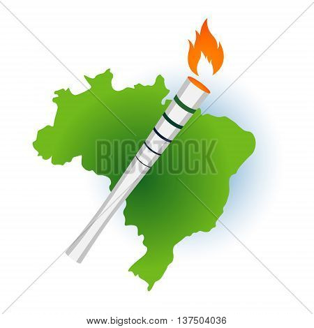 Sport flame torch over Brazil Rio summer games