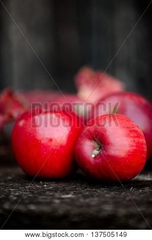 Two Red Organic Fresh Apples On A Wooden Surface, Autumn Harvest