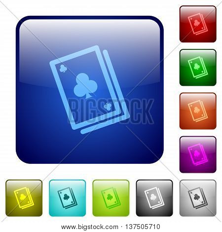 Set of card game color glass rounded square buttons