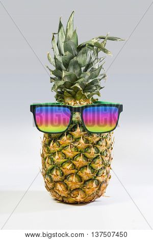 Summer Pineapple Fruit With Colorful Sunglasses