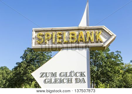 Arrow With Sign To Spielbank In Bad Homburg