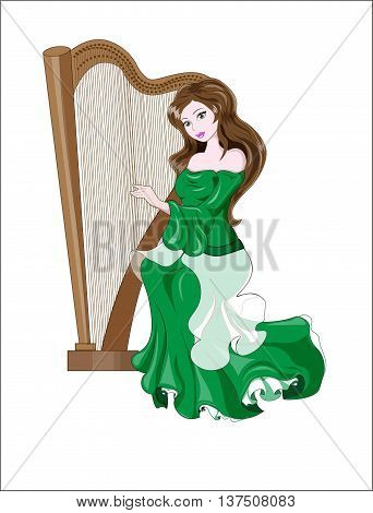 the great princess with brown hair plays a harp