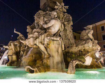 Four Rivers Fountain Designed By Bernini. Piazza Navona, Rome