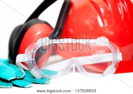 Various Working Equipment And Safety Construction Gear. Helmet,