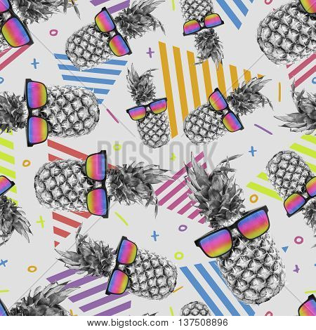 Colorful summer background with fun pineapple fruit wearing color retro sunglasses trendy  pattern design.