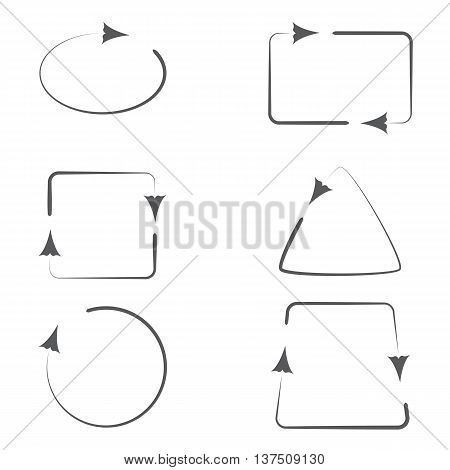 Set of Geometric Frames with Curly Arrows Pointing Direction. Vector EPS10