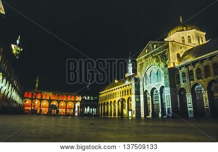 The Omayyad Mosque Perfectly Illuminated At Night