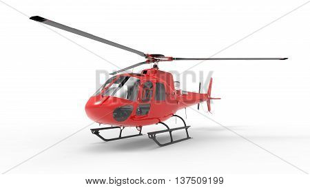 Red civilian helicopter on a white uniform background. 3d illustration