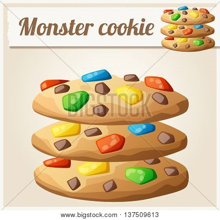 Monster cookies. Detailed vector icon. Series of food and drink and ingredients for cooking.