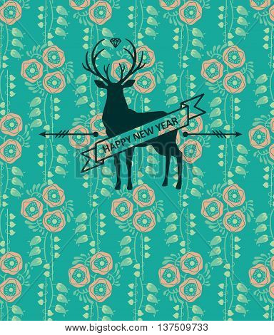 Hipster deer. Vector illustration. Happy New Year poster
