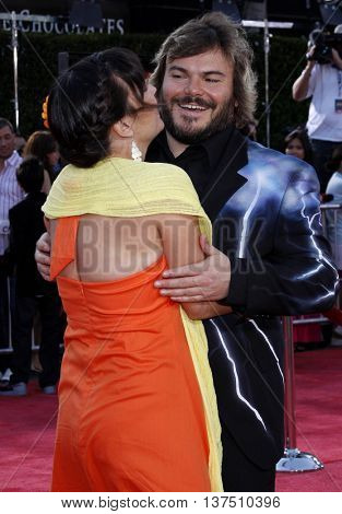 Jack Black and Tanya Haden at the Los Angeles premiere of 'Tropic Thunder' held at the Mann Village Theater in Westwood, USA on August 11, 2008.