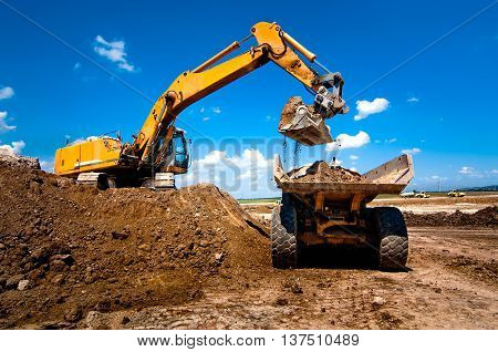 Industrial Truck Loader Excavator Moving Earth And Unloading Int