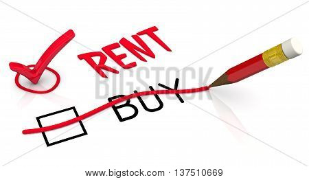 Rent instead of buy. Red pencil crossed out the word