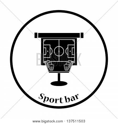 Sport Bar Table With Mugs Of Beer And Football Translation On Projection Screen Icon