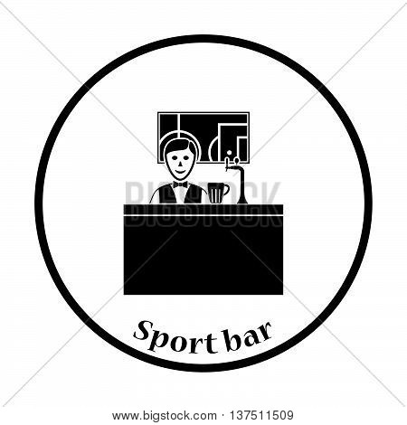 Sport Bar Stand With Barman Behind It And Football Translation On Tv Icon