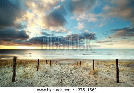 sunset over North sea coast North Holland Netherlands