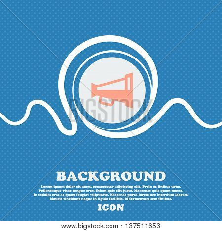 Megaphone Soon, Loudspeaker  Sign Icon. Blue And White Abstract Background Flecked With Space For Te