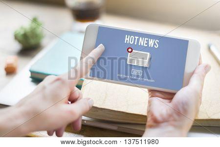 Hot News Newsletter Announcement Daily Concept