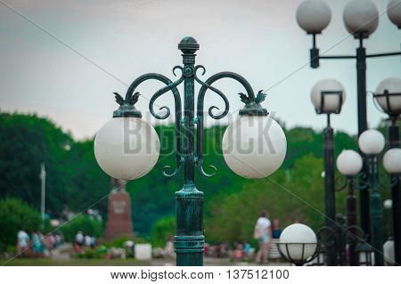street lamp,lamp with round ceiling lamp on the street