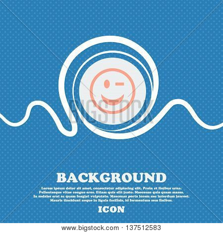 Winking Face  Sign Icon. Blue And White Abstract Background Flecked With Space For Text And Your Des