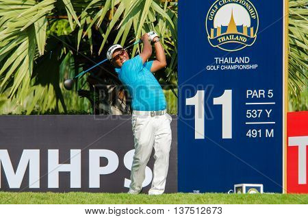 CHONBURI - DECEMBER 10 : Antonio Lascuna of Philippines player in Thailand Golf Championship 2015 at Amata Spring Country Club on December 10 2015 in Chonburi Thailand.