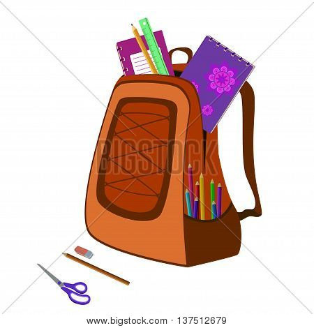 school bag packed with notebooks, pencils, scissors, ruler and eraser on white