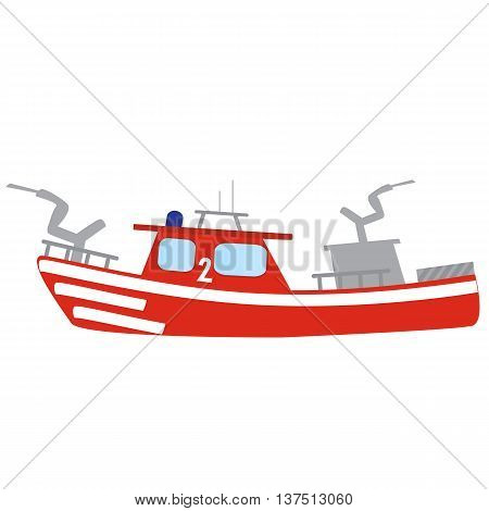 Firefighter emergency flat red fire boat with hose