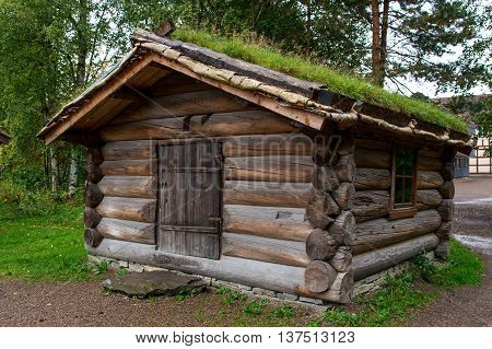 Traditional Norwegian House With Grass Roof. The Norwegian Museum Of Cultural History, Oslo.