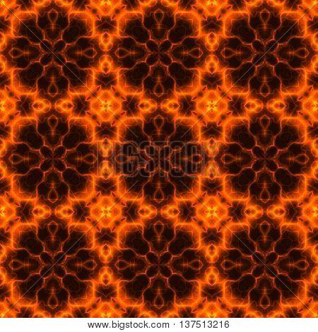 Kaleidoscopic abstract fiery orange pattern made seamless