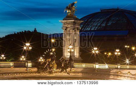The bridge Alexandre III in evening Paris France.