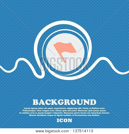 Finish, Start Flag  Sign Icon. Blue And White Abstract Background Flecked With Space For Text And Yo