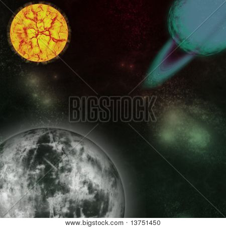A outer space scene showing a planet getting ready to break up