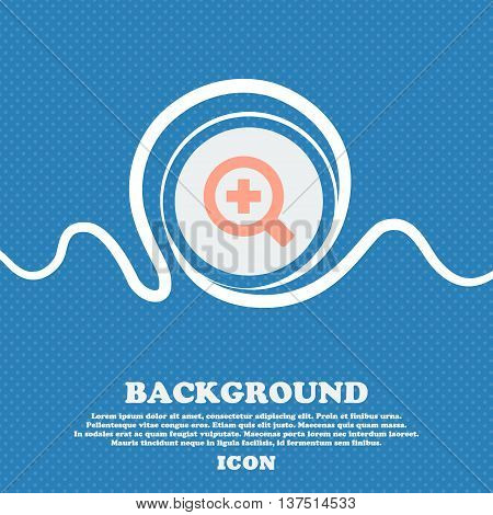 Magnifier Glass, Zoom Tool  Sign Icon. Blue And White Abstract Background Flecked With Space For Tex
