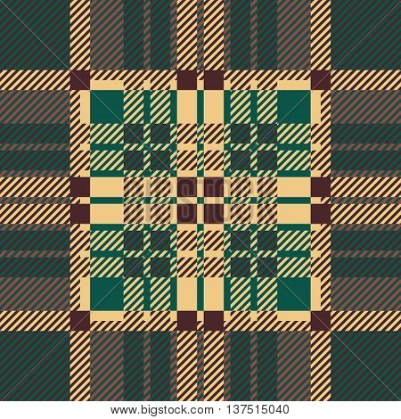 Seamless tartan pattern. repeated plaid twill tile texture. green, brown palette vector illustration.