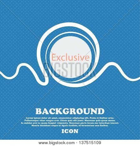 Exclusive Sign Icon. Special Offer Symbol. Blue And White Abstract Background Flecked With Space For