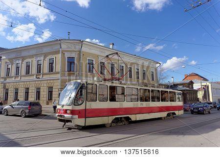 Nizhny Novgorod Russia. - April 22.2016. Tram Route 1 at the intersection of Bolshaya Pokrovskaya and October