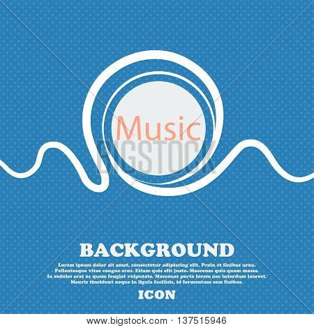 Music Sign Icon. Karaoke Symbol. Blue And White Abstract Background Flecked With Space For Text And
