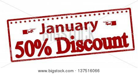 Rubber stamp with text January fifty percent discount inside vector illustration