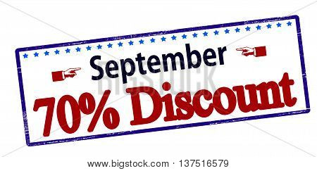 Rubber stamp with text September seventy percent discount inside vector illustration