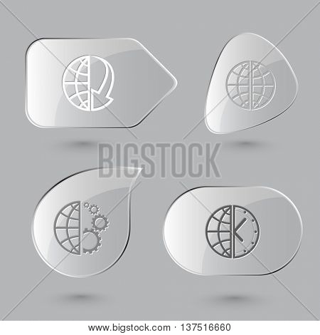 4 images: globe and array down,  and gears,  and clock. Globe set. Glass buttons on gray background. Vector icons.