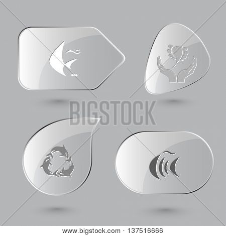 4 images: fish, bird in hands, killer whale as recycling symbol. Animal set. Glass buttons on gray background. Vector icons.