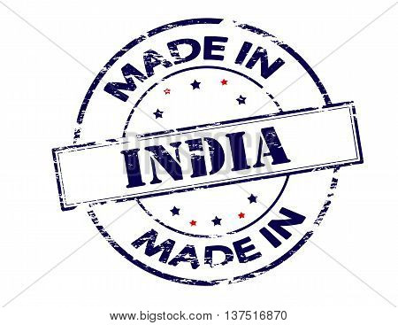 Rubber stamp with text made in India inside vector illustration